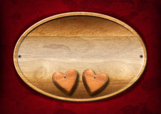 Oval Wood Board with Two Hearts Stock Photo
