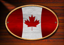 Oval Wooden Canadian Flag Stock Photos