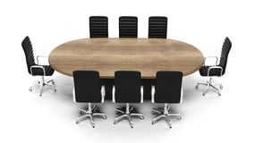 Oval wooden meeting room table Stock Images