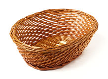 Oval Woven Reed Basket Stock Photo