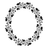 Oval wreath with black and white doodle branches. With oval leaves.Decoration for greeting card,wedding invitation,save the date.Leaf frame for design with vector illustration