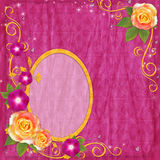 Oval yellow frame in scrapbooking style with rose Stock Photo