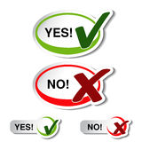 Oval yes no button - check mark symbol Royalty Free Stock Image