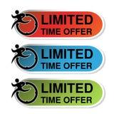 Ovala etiketter av det inskränkta Tid erbjudandet med klistermärken den man för löpare röd, blå och grön, Arkivfoton