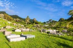Ovalau, Fidji Cimetière de Hillside avec les pelouses vertes luxuriantes d'été, les paumes, le ciel bleu et les vieilles pierres  photo stock