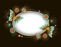 Ovale banner met turkooise vlinders Royalty-vrije Stock Foto
