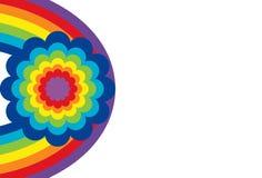 Ovale d'arc-en-ciel avec la fleur Photos libres de droits