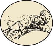 Ovale de train de voie ferroviaire attaché par fruit de date prochain Image stock