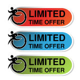 Ovale etiketten van Beperkte Tijdaanbieding met agentmens, rode, blauwe en groene sticker Stock Foto's