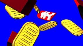 Ovale Goldmünzen und Taschen auf blauem Farbenreinheitsschlüssel lizenzfreie abbildung