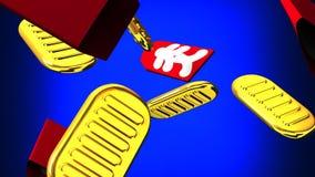 Ovale Goldmünzen und Taschen auf blauem Hintergrund lizenzfreie abbildung