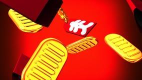Ovale Goldmünzen und Taschen auf rotem Hintergrund stock abbildung