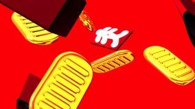 Ovale Goldmünzen und Taschen auf rotem Hintergrund vektor abbildung