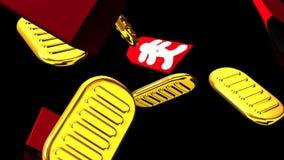 Ovale Goldmünzen und Taschen auf schwarzem Hintergrund vektor abbildung