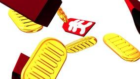 Ovale Goldmünzen und Taschen auf weißem Hintergrund lizenzfreie abbildung