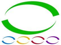 Ovale kaders - grenzen in vijf kleuren Kleurrijke ontwerpelementen Stock Foto