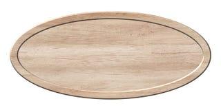 Ovale raad die van licht hout met houten kader wordt gemaakt stock fotografie