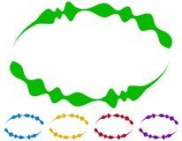Ovale Rahmen - Grenzen in fünf Farben Bunte Auslegungelemente Stockfotos