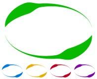 Ovale Rahmen - Grenzen in fünf Farben Bunte Auslegungelemente Lizenzfreies Stockbild