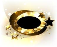 Ovale veelhoekige banner met sterren vector illustratie