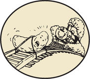 Ovale venente del treno del binario legato frutta della data Immagine Stock