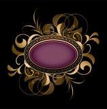Ovale viola con il disegno operato Fotografie Stock