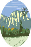 Ovale WPA de monolithe de granit d'EL Capitan illustration libre de droits