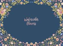 Ovaler Aquarellblumenrahmen lokalisiert auf Blau stock abbildung