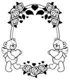 Ovaler Aufkleber mit den Entwurfsrosen und nettem Teddybären, die Herz halten Rasterclipart Stockfoto