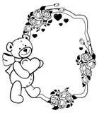 Ovaler Aufkleber mit den Entwurfsrosen und nettem Teddybären, die Herz halten Rasterclipart Lizenzfreies Stockfoto