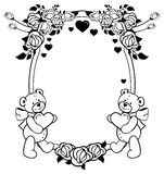 Ovaler Aufkleber mit den Entwurfsrosen und nettem Teddybären, die Herz halten Rasterclipart Stockbild