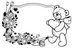 Ovaler Aufkleber mit den Entwurfsrosen und nettem Teddybären, die Herz halten Rasterclipart Lizenzfreie Stockbilder