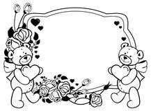 Ovaler Aufkleber mit den Entwurfsrosen und nettem Teddybären, die Herz halten Rasterclipart Lizenzfreies Stockbild