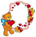 Ovaler Aufkleber mit roten Rosen und der nette Teddybär, der ein großes hält, hören Stockfotografie