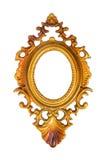 Ovaler goldener Bilderrahmen getrennt auf Weiß Stockfoto