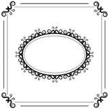 Ovaler Rahmen der Schwarzweiss-Weinlese auf einem weißen Hintergrund stockfoto