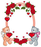 Ovaler Rahmen mit den Rosen und zwei Teddybären, die Herz halten Lizenzfreie Stockfotografie