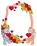 Ovaler Rahmen mit den Rosen und zwei Teddybären, die Herz halten Stockbild
