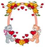 Ovaler Rahmen mit den Rosen und zwei Teddybären, die Herz halten Stockfotos