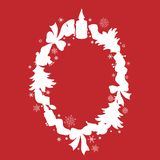 Ovaler Weihnachtsrahmen mit Schneeflocken stock abbildung