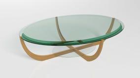 Ovaler zeitgenössischer Couchtisch, Möbel lokalisiert auf weißem Hintergrund Stockbild