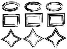 Ovales grunges, étoiles et rectangles de vecteur Rappes de balai réglées illustration libre de droits