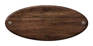 Ovales Holzschild gemacht vom dunklen Holz und mit Nägeln befestigt stockbilder