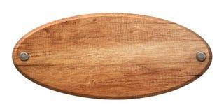 Ovales Holzschild gemacht vom Naturholz und mit Nägeln befestigt stockfotos