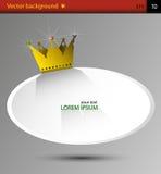 Ovalt baner för vektor med kronan för gul guld Arkivbilder