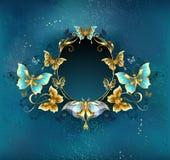 Ovalt baner med lyxiga fjärilar stock illustrationer