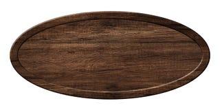 Ovalt bräde som göras av mörkt trä med träramen arkivfoto