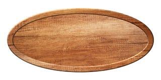 Ovalt bräde som göras av naturligt trä med träramen arkivbild