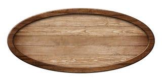 Ovalt bräde som göras av naturligt trä och med den mörka ramen arkivbild