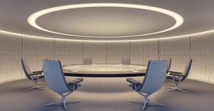 Ovalt konferensrum med den runda tabellen och stolar arkivbild